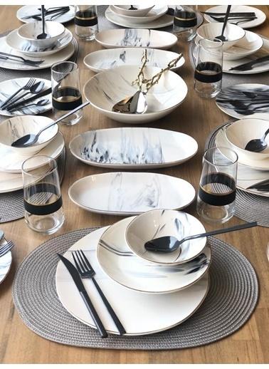 ROSSEV Yemek Takımı Gri Mermer Desen 85 Parça 6 Kişilik Renkli